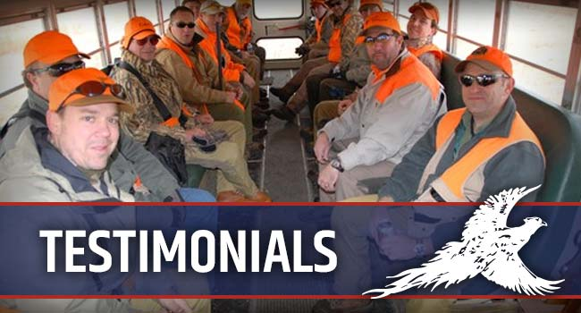 Pheasant City Lodge Testimonials